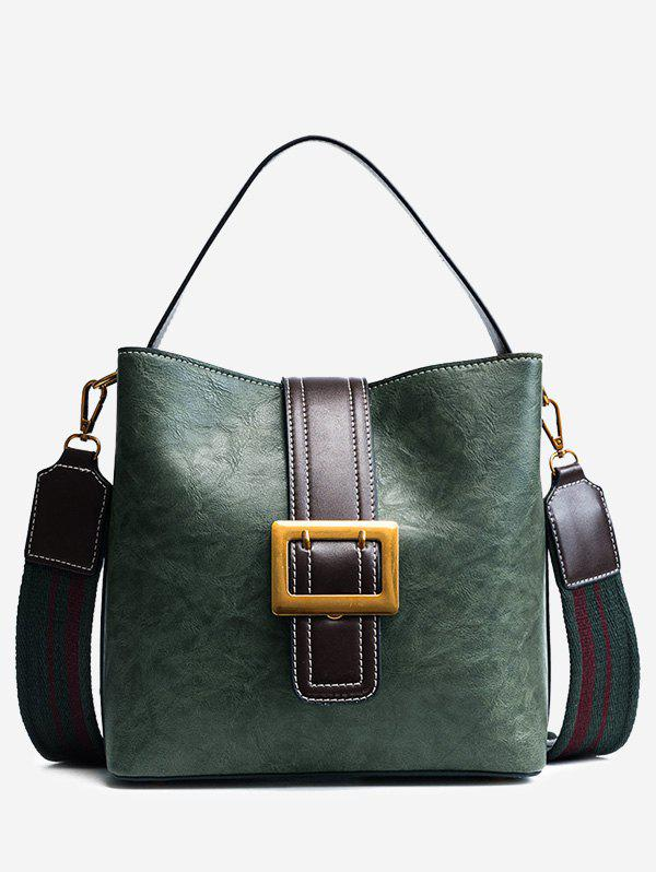 Faux Leather Buckle Strap Stitching Handbag - GREEN