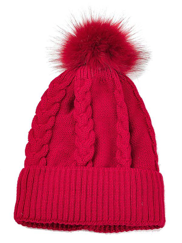 Outdoor Striped Pattern Embellished Knitted  Pom Beanie - RED