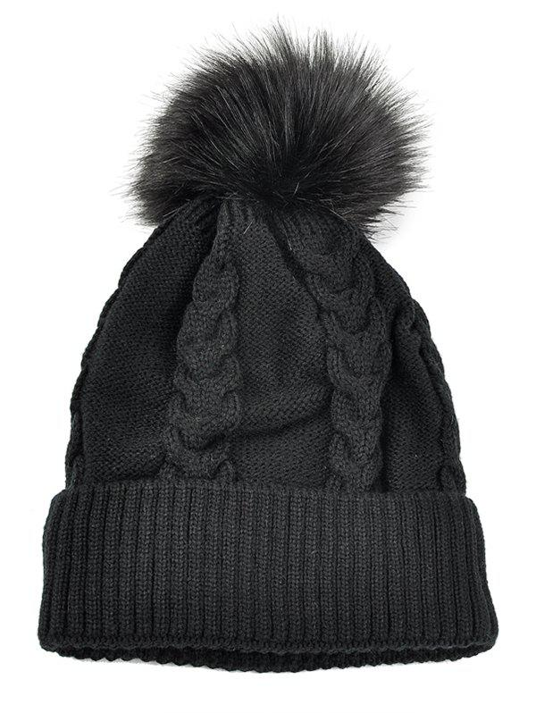 Outdoor Striped Pattern Embellished Knitted  Pom Beanie - BLACK