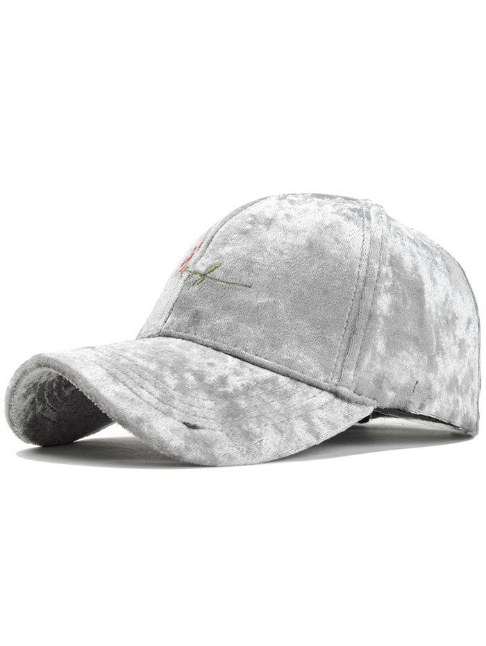 Rose Embroidered Embellished Suede Graphic Hat - LIGHT GRAY