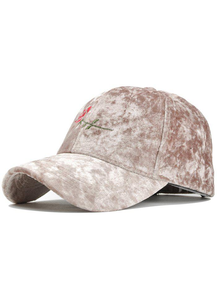 Rose Embroidered Embellished Suede Graphic Hat - KHAKI