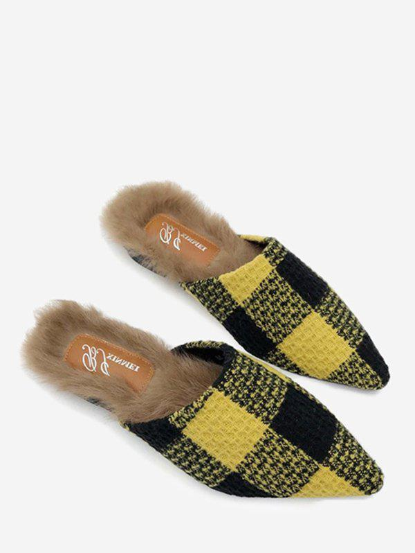цена Faux Fur Lining Flat Plaid Mules Shoes