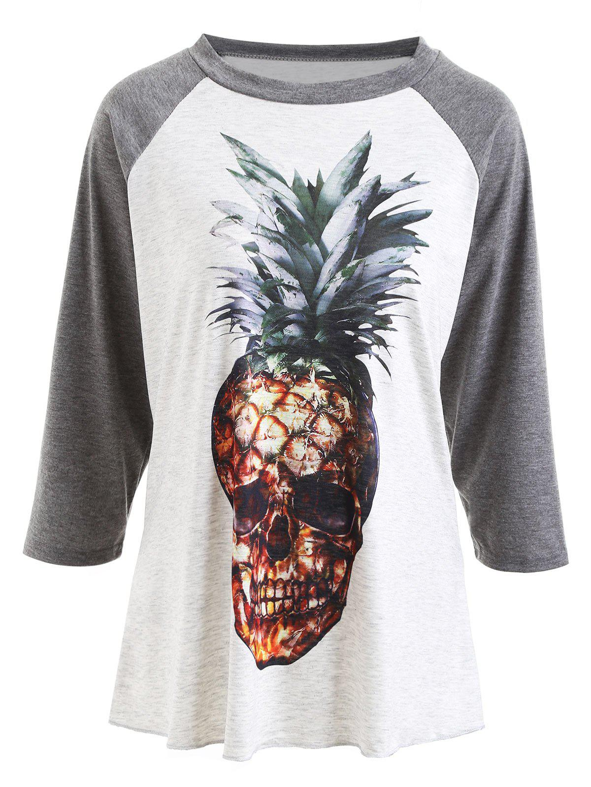 Pineapple Skull Printed Raglan Sleeve T-shirt 235561601