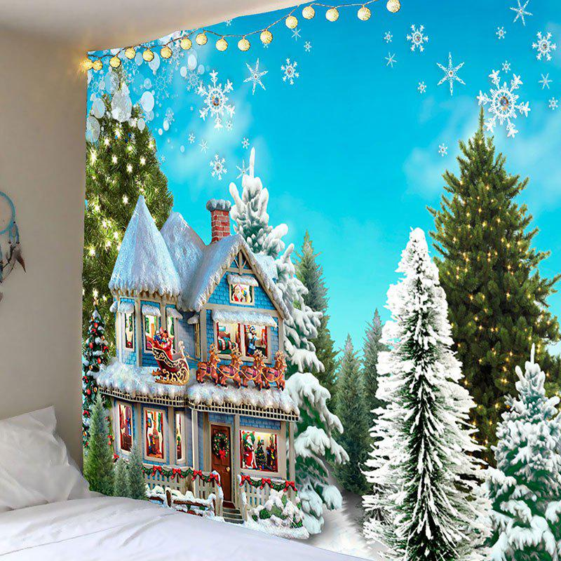 Christmas House Trees Snowflakes Pattern Wall Tapestry