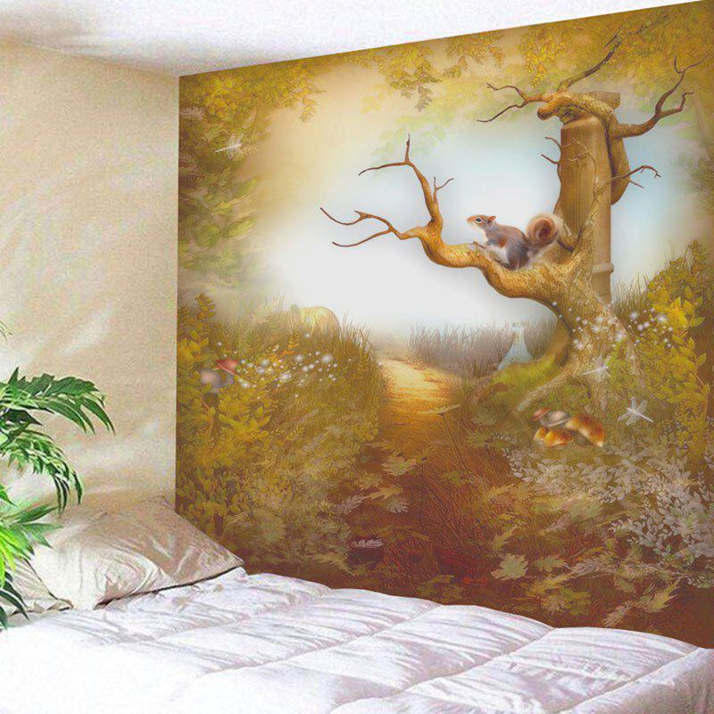Squirrel on the Tree Pattern Wall Hanging Tapestry the hanging tree