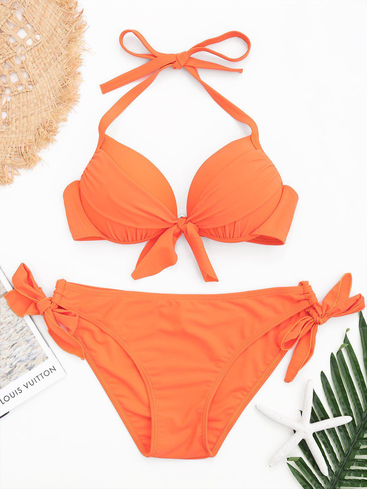 Ensemble de bikini à bretelles et à licou - Orange XL