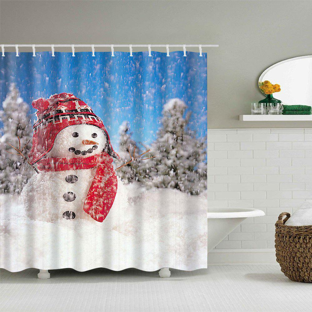 2018 Christmas Snowman Pattern Waterproof Polyester Shower