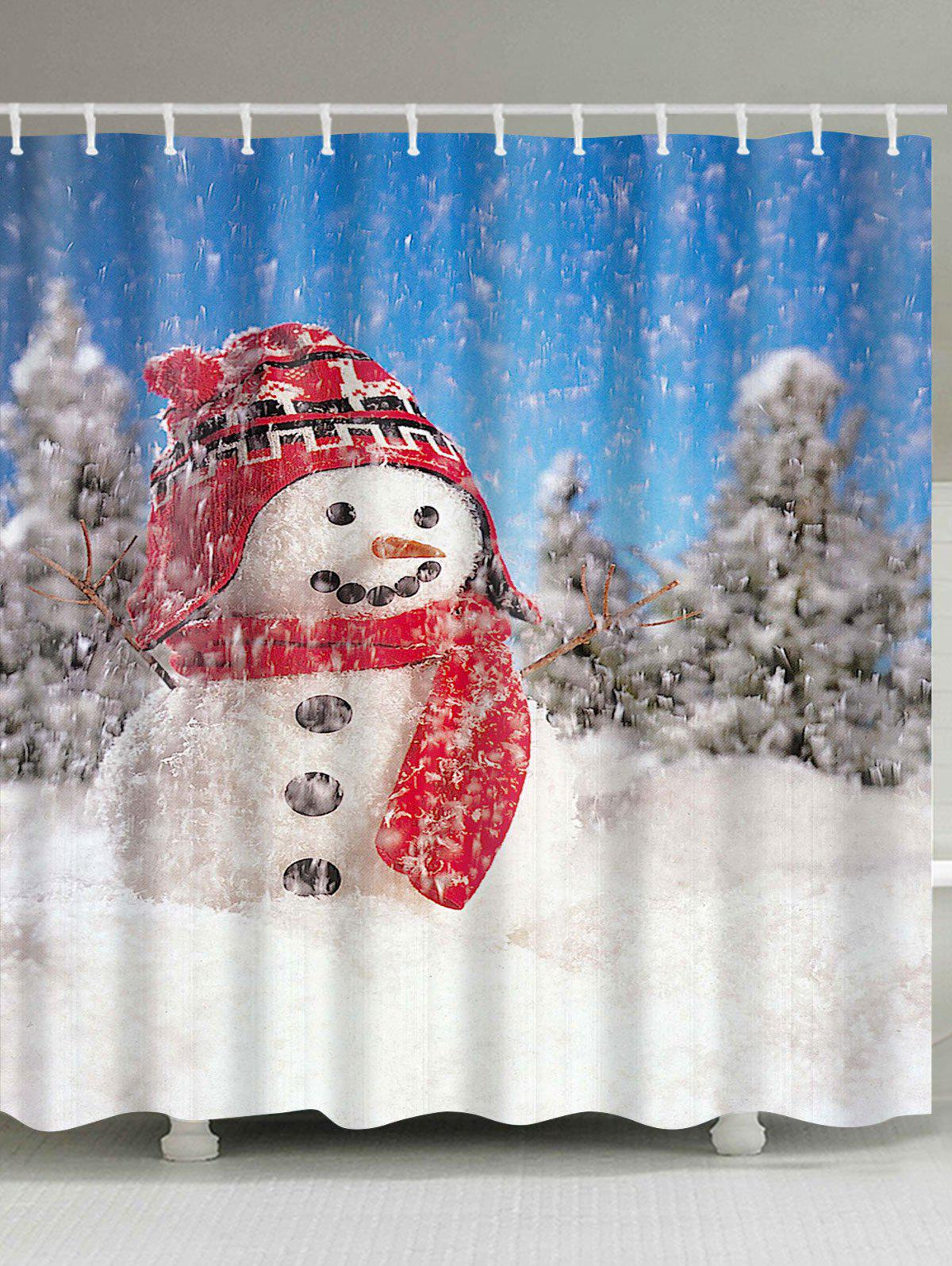 Christmas Snowman Pattern Waterproof Polyester Shower Curtain waterproof christmas snowman pine pattern shower curtain