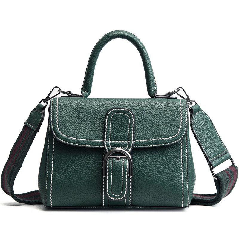 Buckle Strap Stitching PU Leather Handbag - BLACKISH GREEN