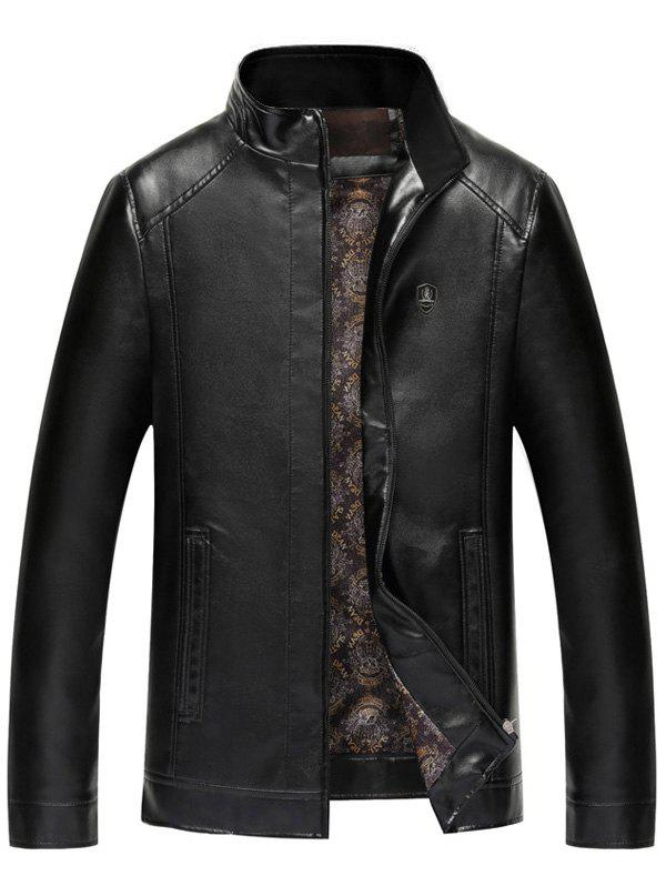 Badge Faux Leather Zip Up Jacket - Noir 2XL