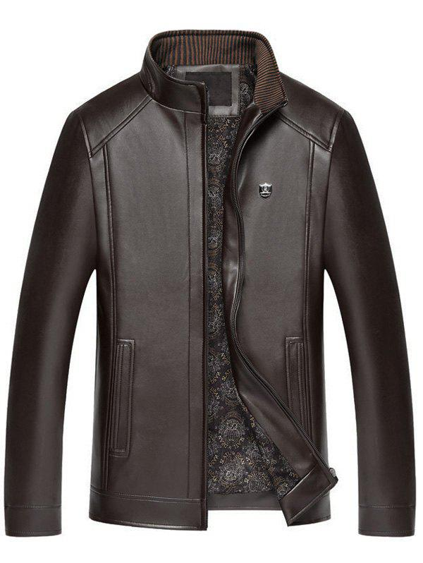 Badge Faux Leather Zip Up Jacket - brun foncé L