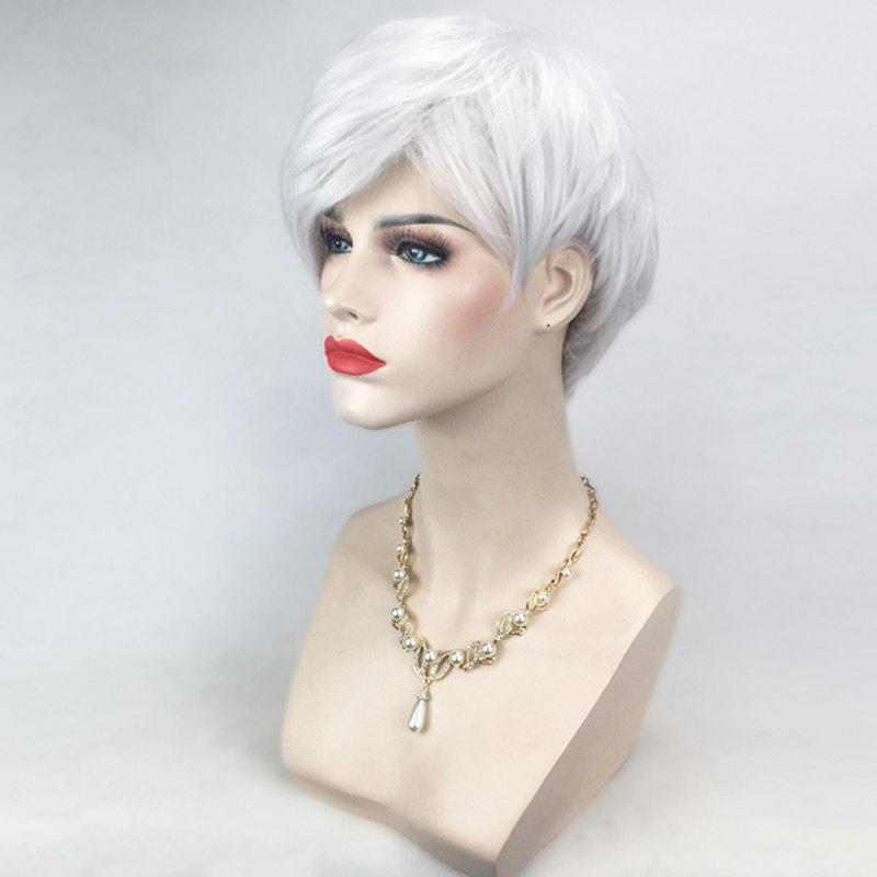 Short Inclined Bang Layered Straight Cosplay Synthetic Wig - SILVER WHITE
