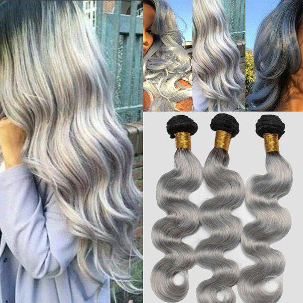7A Virgin Body Wave Chinese Human Hair Weaves - BLACK GREY 12INCH