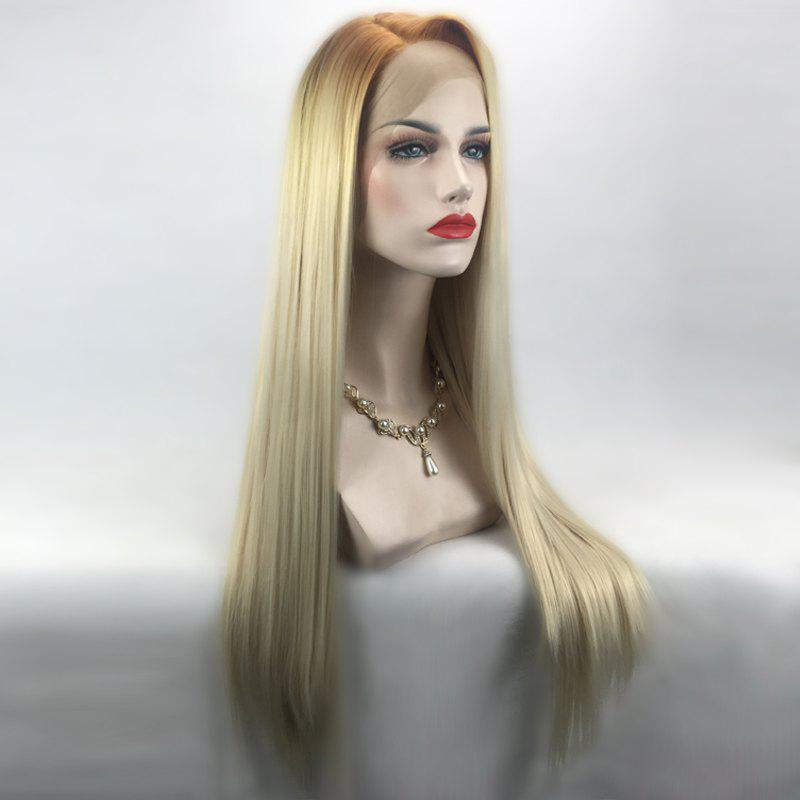 Long Ombre Side Parting Straight Lace Front Synthetic Wig - BROWN / GOLDEN