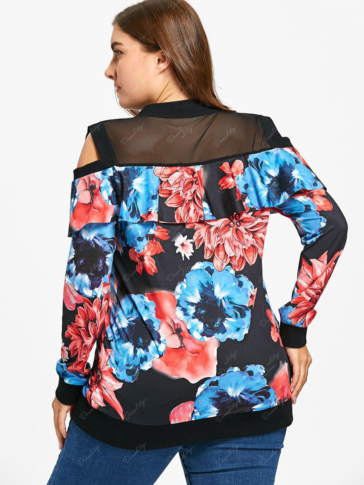 Cold Shoulder Floral Print Plus Size Jacket - FLORAL 4XL