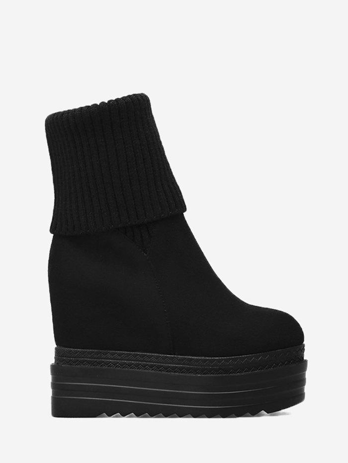 Wedge Heel Faux Suede Mid-calf Sock Boots - BLACK 37