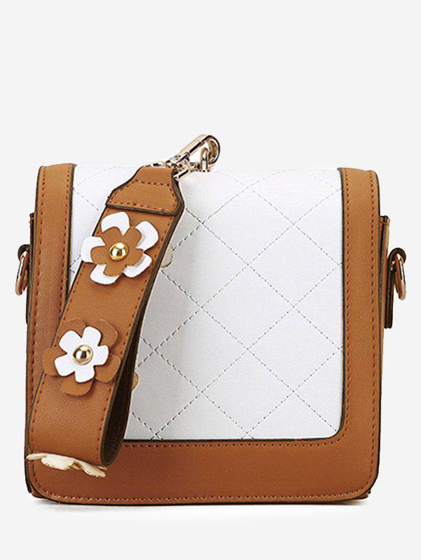 Color Blocking Quilted Flower Handbag - BROWN