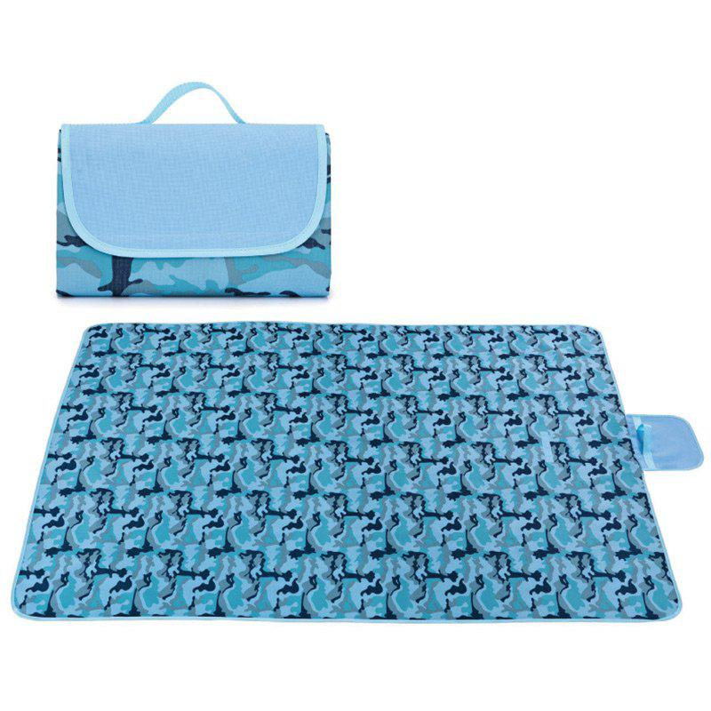 Outdoor Camping Beach Waterproof Oxford Picnic Blanket - BLUE CAMOUFLAGE 195*200CM