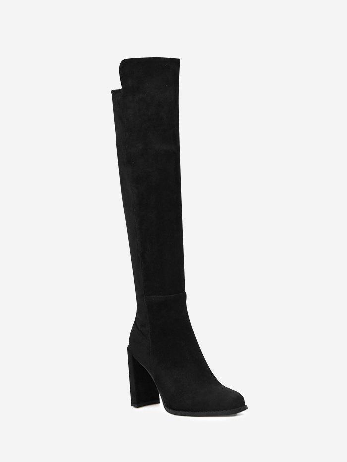 High Heel Almond Toe Thigh High Boots - BLACK 39