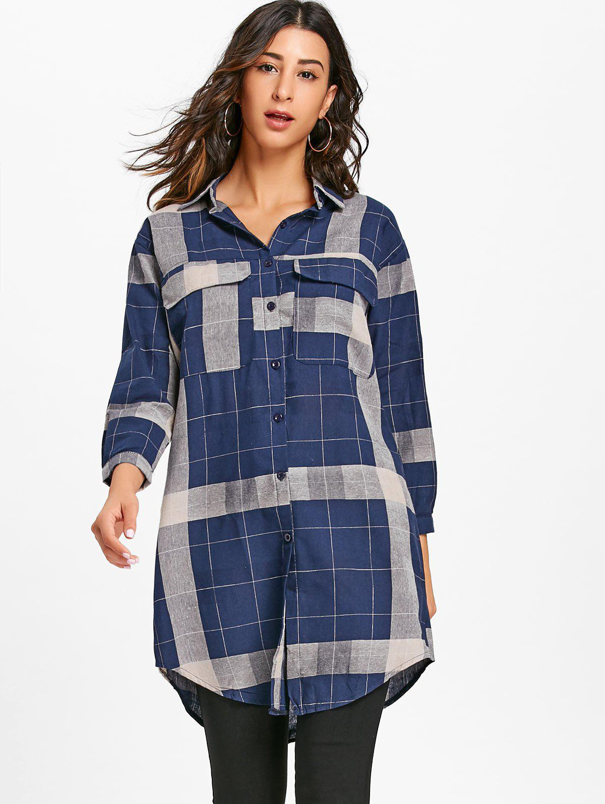 Long Sleeve Plaid Midi Shirt Dress - DEEP BLUE L