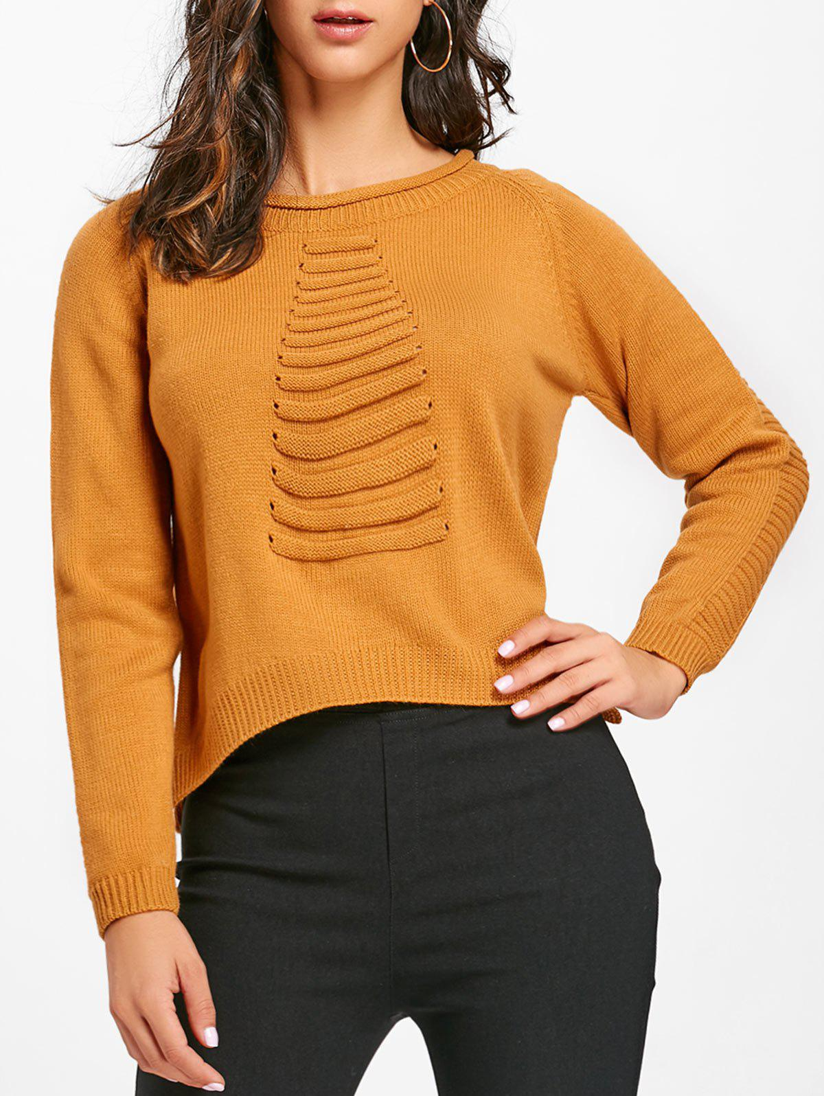 High Low Crew Neck Raglan Sleeve Sweater - YELLOW ONE SIZE