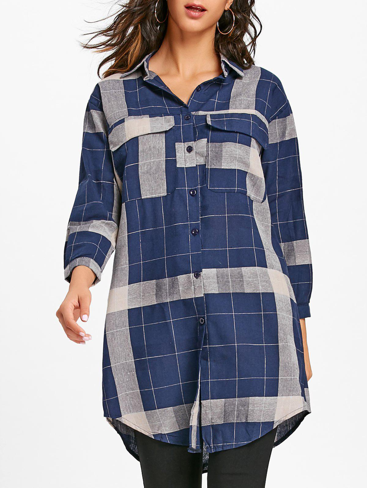 Long Sleeve Plaid Midi Shirt Dress - DEEP BLUE S