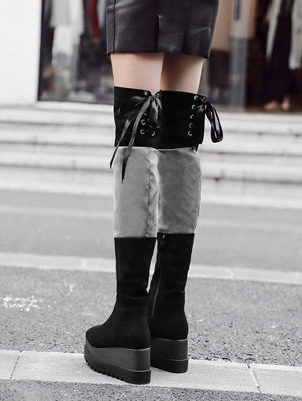 Lace Up Back Thigh High Boots - BLACK 37