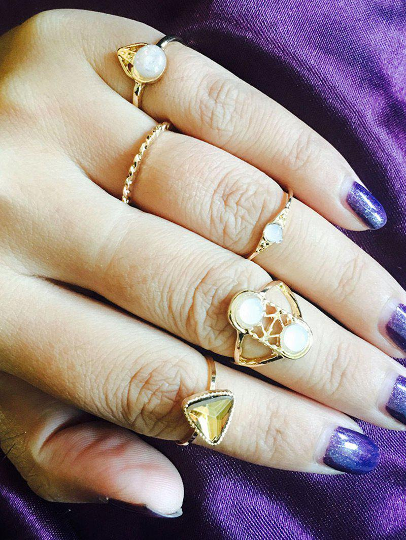 Faux Gem Opal Geometric Finger Ring Set - GOLDEN