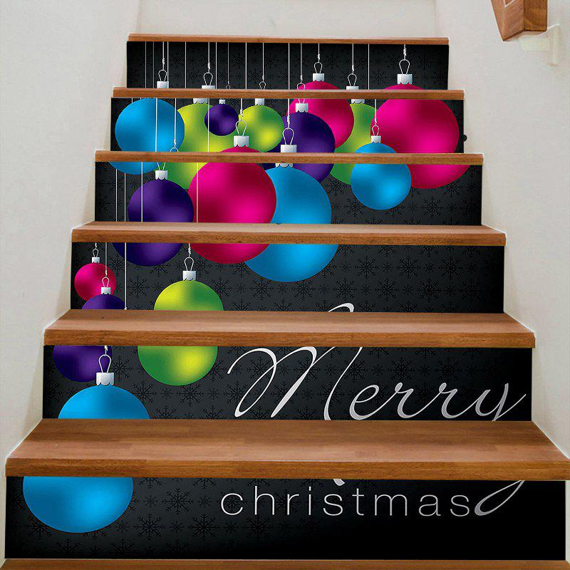 Christmas Hanging Balls Decorative Stair Stickers - COLORFUL 100*18CM*6PCS