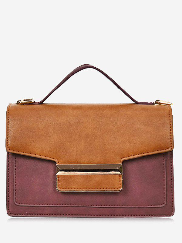 Contrasting Color Metallic Faux Leather Handbag - BROWN