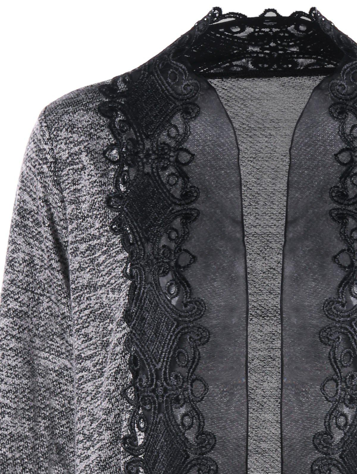 Plus Size Open Front Lace Trimmed Cardigan - GRAY 3XL