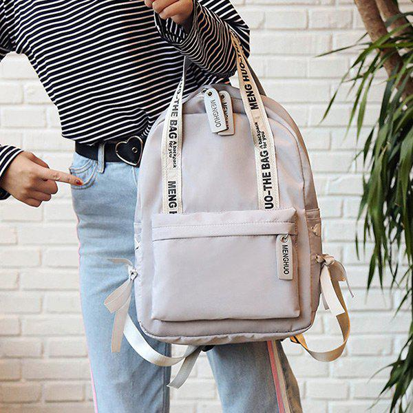 Ribbon Bowknot Letter Print Backpack - GRAY