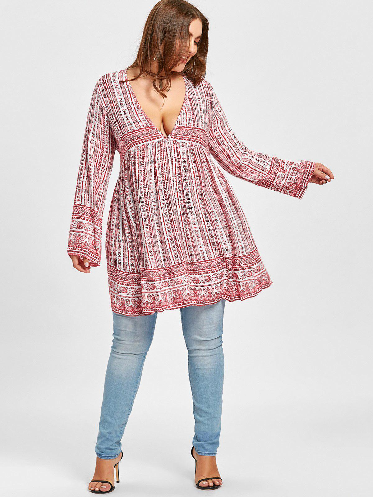 Plunging Ethnic Graphic Plus Size Blouse - RED ONE SIZE