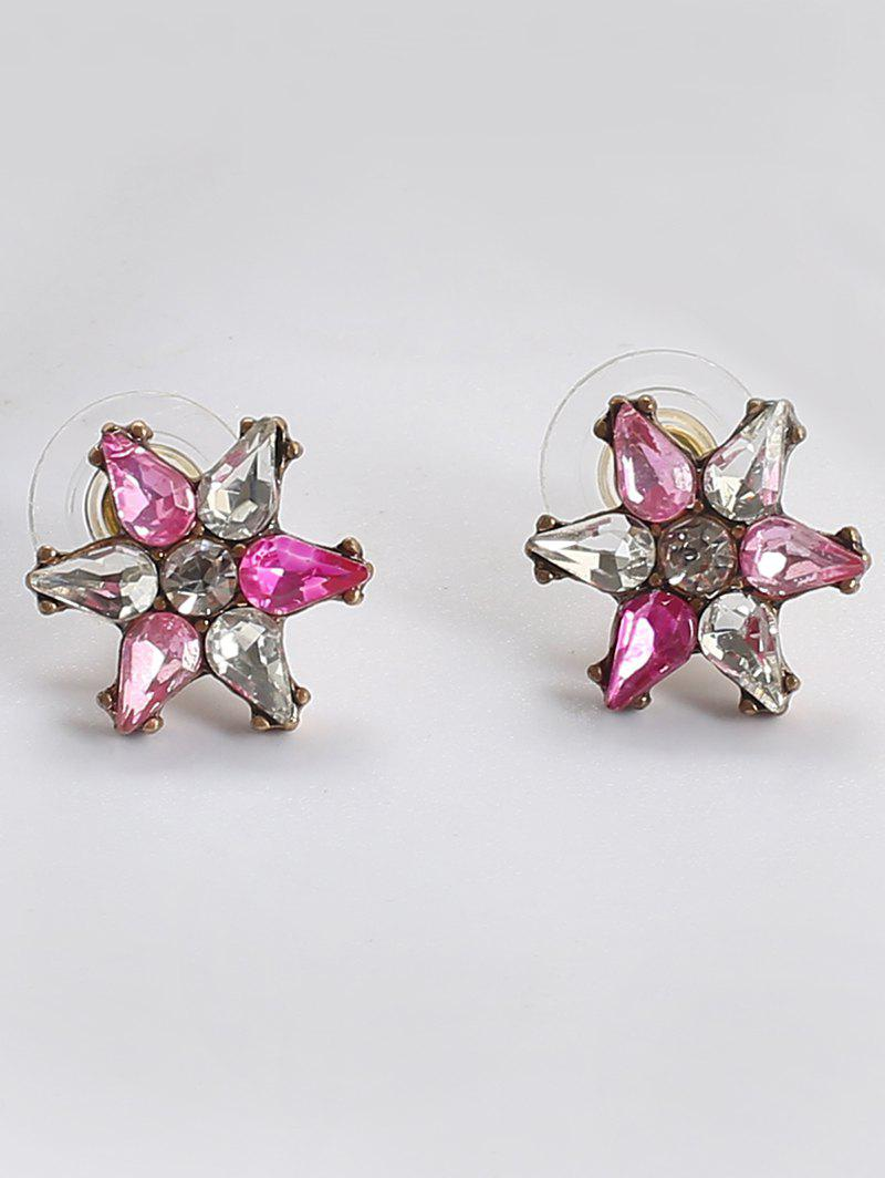 Faux Crystal Teardrop Flower Stud Earrings faux crystal flower hook earrings