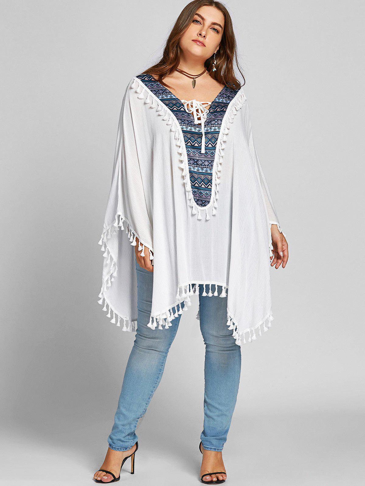 Lace Up Tassel Batwing Sleeve Plus Size Blouse - Blanc ONE SIZE