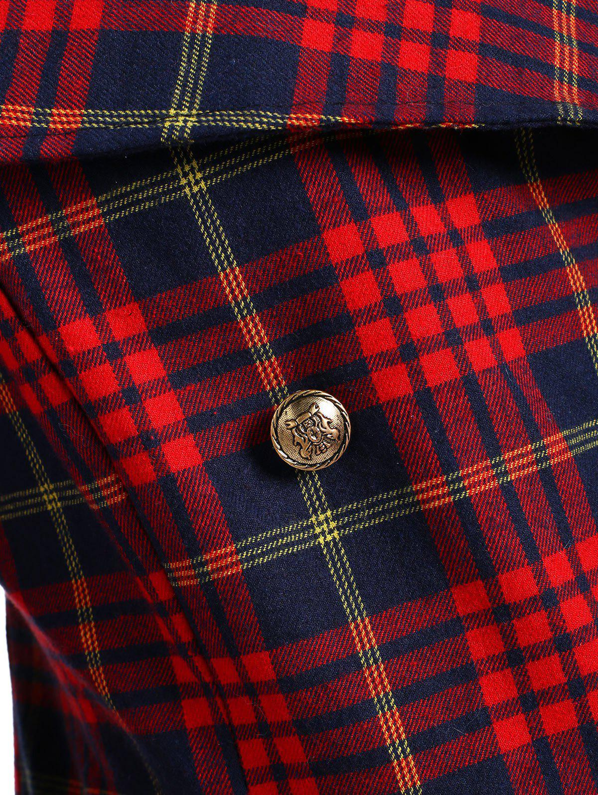 Double Breasted Plus Size Plaid Coat - CHECKED 5XL