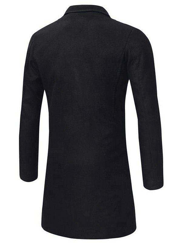 Longline Double Breasted Peacoat - BLACK 4XL