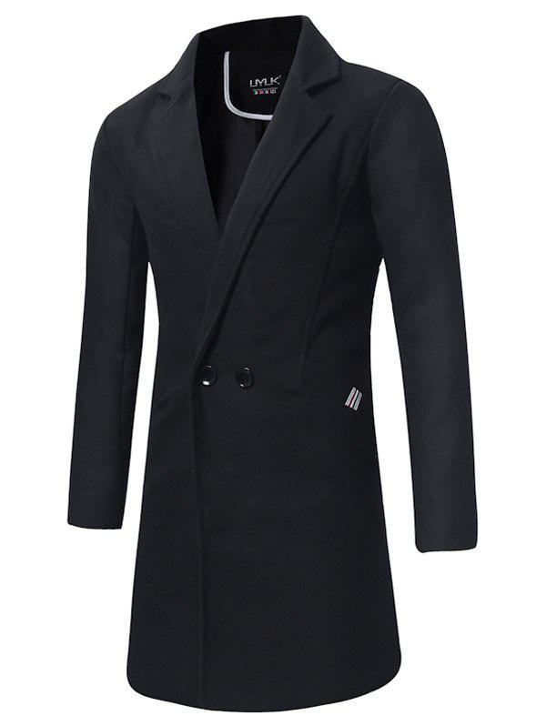 Longline Double Breasted Peacoat - BLACK XL