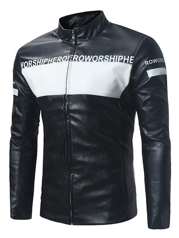 Graphic Color Block Zip Up PU Leather Jacket - BLACK 3XL