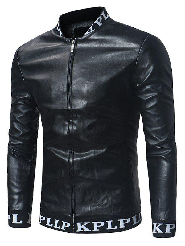 Graphic Print Ribbed Zip Up PU Leather Lame Jacket pu leather and corduroy spliced zip up down jacket