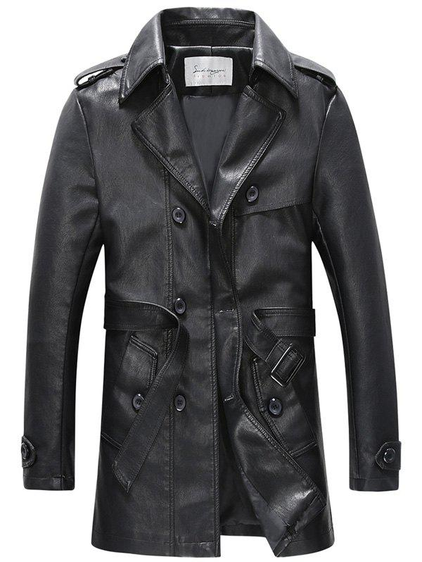 Belt Design Double Breasted PU Leather Trench Coat - BLACK 2XL