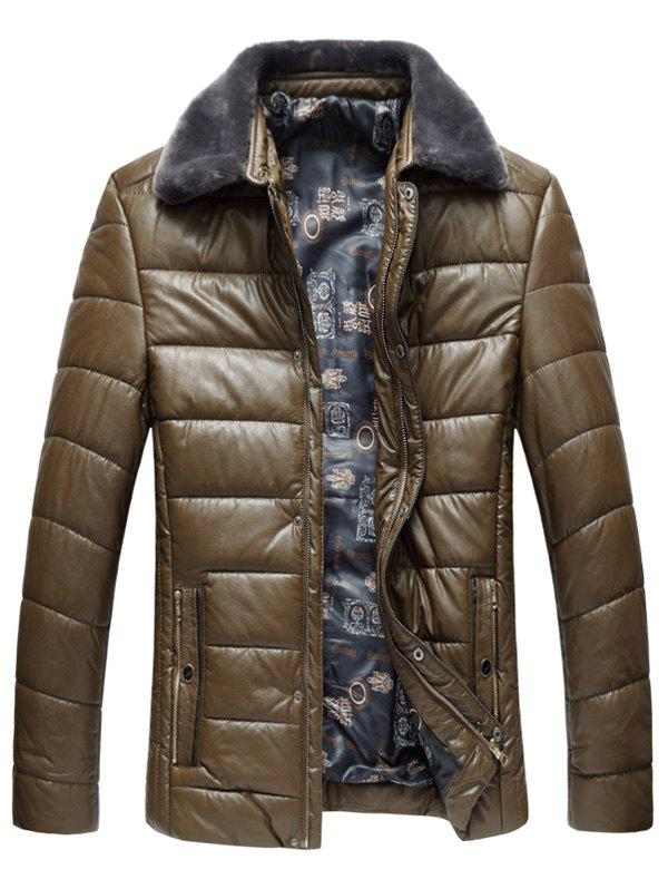Faux Fur Collar Zip Up PU Leather Padded Coat - KHAKI 3XL