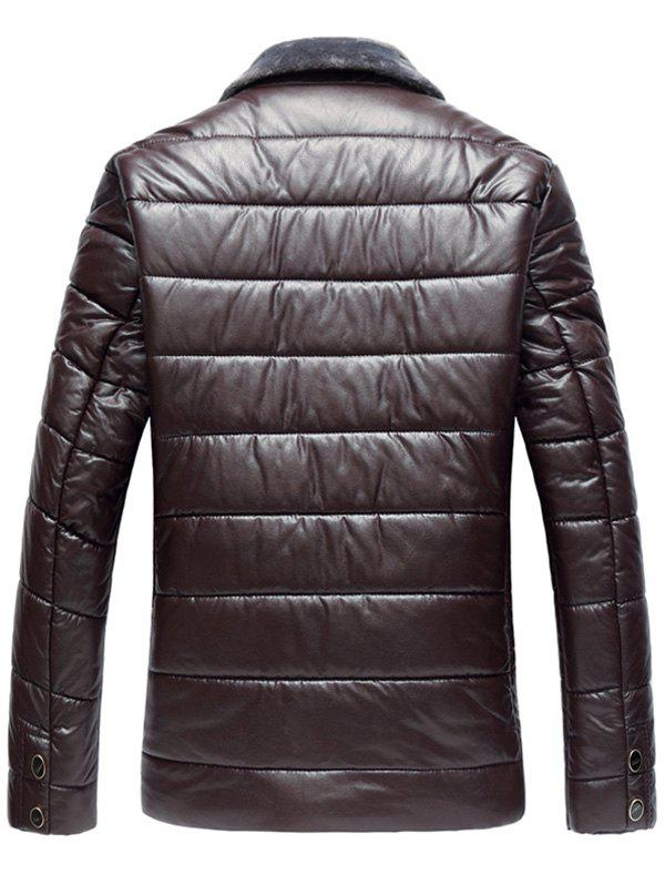 Faux Fur Collar Zip Up PU Leather Padded Coat - WINE RED XL