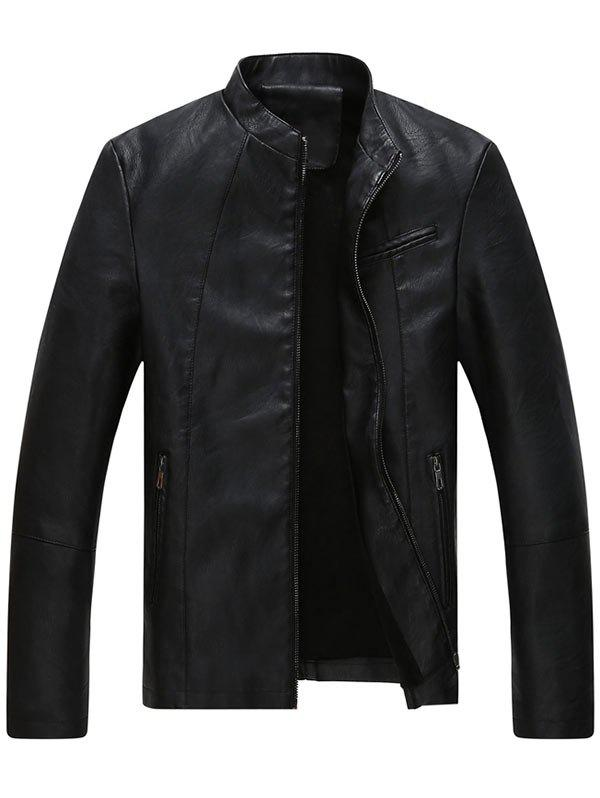 Full Zipper Stand Collar Faux Leather Jacket faux twinset stand collar double zipper pu leather jacket