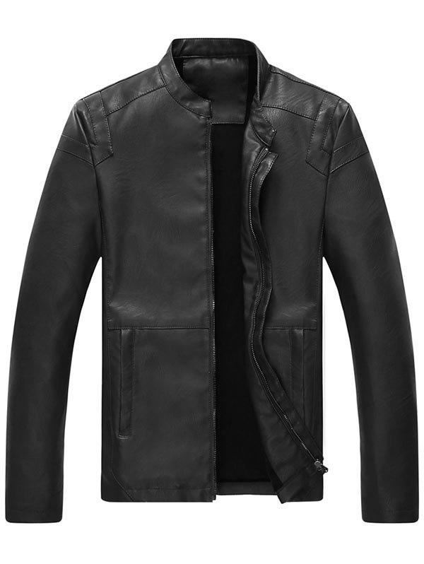 Full Zip Mandarin Collar Faux Leather Jacket - BLACK 3XL