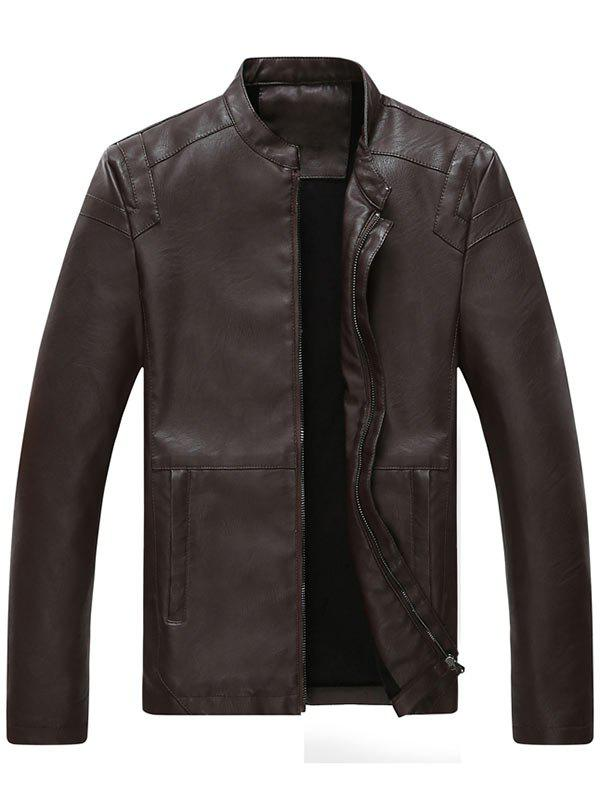 Full Zip Mandarin Collar Faux Leather Jacket - COFFEE XL