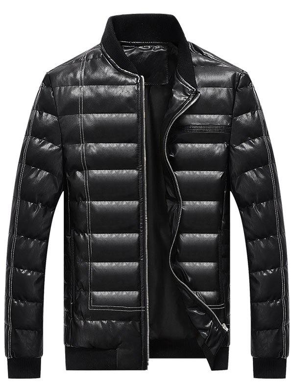 Zipper Up Faux Leather Padded Bomber Jacket - BLACK 3XL