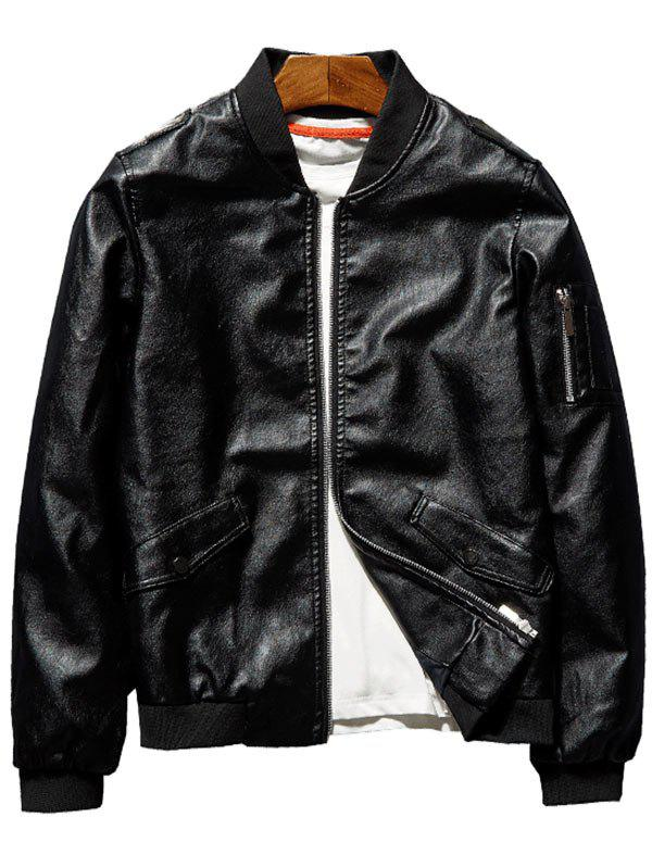 Zip Up Epaulet Faux Leather Bomber Jacket - BLACK XL