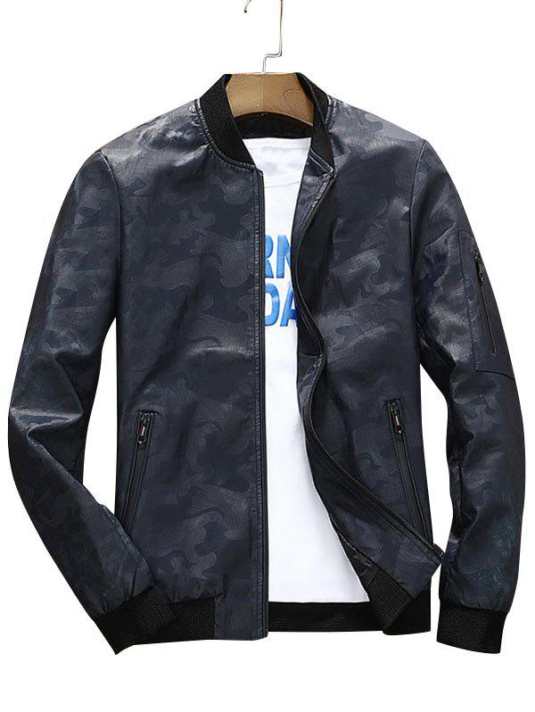 Zip Up Faux Leather Camouflage Bomber Jacket - DEEP BLUE 3XL