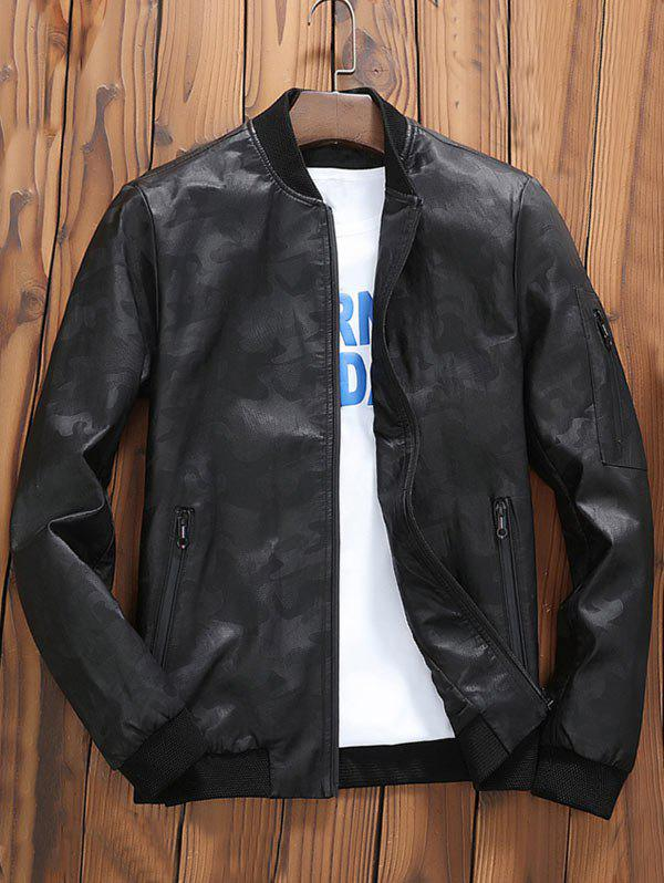 Zip Up Faux Leather Camouflage Bomber Jacket - BLACK L